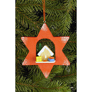 Tree ornaments Moon & Stars Tree Ornament - Star with Ginger Bread - 9,5x9,5 cm / 3.7x3.7 inch