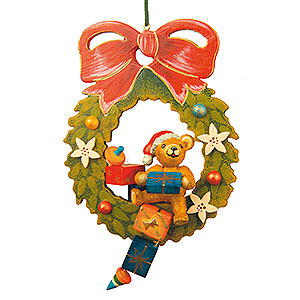 Tree ornaments Toy Design Tree Ornament - Teddy Christmas Wreath - 10 cm / 4 inch