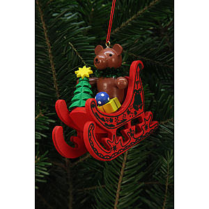 Tree ornaments Christmas Tree Ornament - Teddy in Sleigh - 7,5x7,1 cm / 3x3 inch