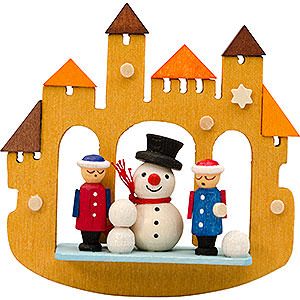 Tree ornaments Snowmen Tree Ornament - Town Gate Snowmann - 7 cm / 2.8 inch