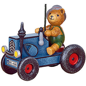 Tree ornaments Toy Design Tree Ornament - Tractor with Teddy - 8 cm / 3 inch