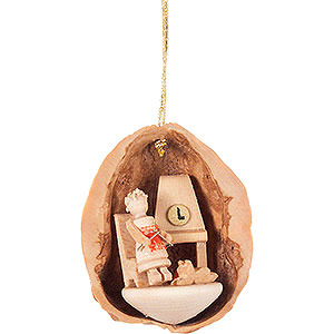 Tree ornaments Walnut Shells Tree Ornament - Walnut Shell with Elderly Lady - 4,5 cm / 1.8 inch