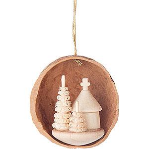 Tree ornaments Walnut Shells Tree Ornament - Walnut Shell with Forest Chapel - 4,5 cm / 1.8 inch