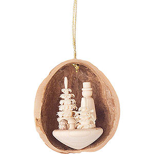 Tree ornaments Walnut Shells Tree Ornament - Walnut Shell with Mushroom Picker - 4,5 cm / 1.8 inch