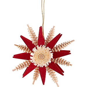Tree ornaments Moon & Stars Tree Ornament - Wood Chip Star - Red - 7 cm / 2.8 inch