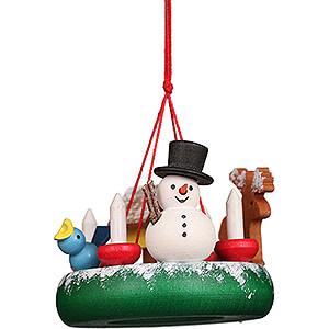 Tree ornaments Snowmen Tree Ornament - Wreath with Snowman - 4,5 cm / 1.8 inch