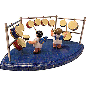 Angels Angels - blue wings - small Two Angels with Drums - Blue Wings - 8,5 cm / 3.3 inch