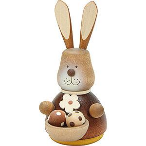 Kleine Figuren & Miniaturen Tiere Hasen Wackelhase mit Eierkorb natur - 9,8 cm
