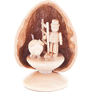 Kleine Figuren & Miniaturen Walnussschalen Walnussschale mit 3 Glücksbringern - 5 cm