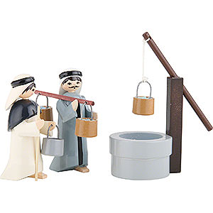 Small Figures & Ornaments ULMIK Nativity colored Water Carriers with Well, Set of Three, Colored - 7 cm / 2.8 inch