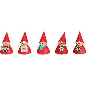 Kleine Figuren & Miniaturen Wippel-/Wackelmännchen Weihnachts-Wippel, 5er Satz - 4 cm
