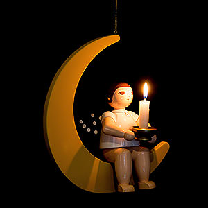 Weihnachtsengel Sonstige Engel Weihnachtsengel auf Mond mit Tülle für Kerze oder Lumix LED - 30 cm