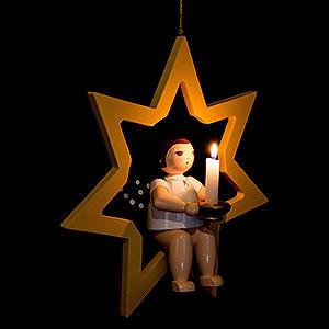 Weihnachtsengel Sonstige Engel Weihnachtsengel im Stern mit Tülle für Kerze oder Lumix LED - 38 cm