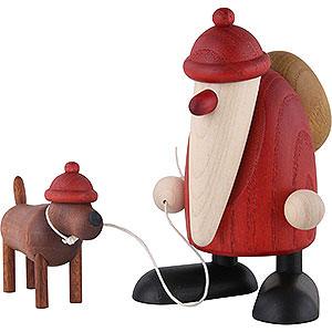Kleine Figuren & Miniaturen Björn Köhler Weihnachtsmänner kl. Weihnachtsmann mit Dackel Waldemar - 9 cm