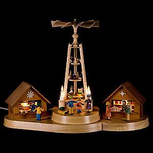 Lichterwelt Lichterhäuser Weihnachtsmarkt mit Pyramide - 28 cm