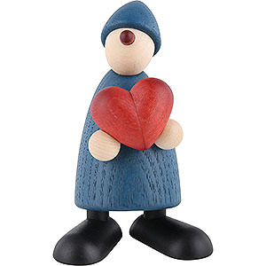 Small Figures & Ornaments Björn Köhler Well-wisher Well-Wisher Theo with Heart, Blue - 9 cm / 3.5 inch