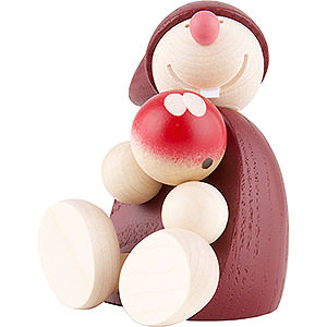 Small Figures & Ornaments Näumanns Wicht Wight with Apple, sitting - Red - 7,5 cm / 2 inch