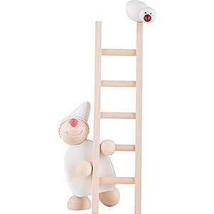 Small Figures & Ornaments Näumanns Wicht Wight with Ladder and Bird - White - 20 cm / 8 inch