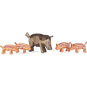 Small Figures & Ornaments Animals Pigs Wild Boar Family - 5 pieces - 4,5 cm / 1.8 inch