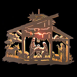 World of Light Window-Pictures Window Picture - Nativity Scene in Stable - 25 cm / 9.8 inch