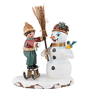 Small Figures & Ornaments Hubrig Winter Kids Winter Children Boy with Snowman - 11 cm / 4 inch