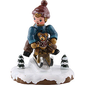Small Figures & Ornaments Hubrig Winter Kids Winter Children Boy with Toboggan - 7 cm / 2,5 inch