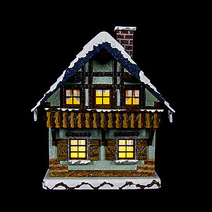 Small Figures & Ornaments Hubrig Winter Kids Winter Children House with Balcony Illuminated - 15 cm / 5,5 inch