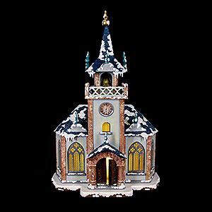 Kleine Figuren & Miniaturen Hubrig Winterkinder Winterhaus Kirche beleuchtet - 31 cm