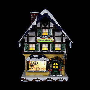 Kleine Figuren & Miniaturen Hubrig Winterkinder Winterhaus Zuckerbäckerei beleuchtet - 15 cm