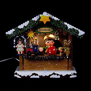 Kleine Figuren & Miniaturen Hubrig Winterkinder Winterkinder Marktbude Geschenkehäusel - 10 cm