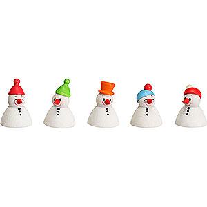 Kleine Figuren & Miniaturen Wippel-/Wackelmännchen Wippel Schneemänner Junior, 5er Satz - 4 cm