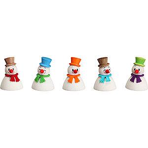Kleine Figuren & Miniaturen Wippel-/Wackelmännchen Wippel Schneemänner Klassik, 5er Satz - 4 cm