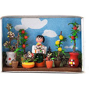 Kleine Figuren & Miniaturen Zündholzschachteln Zündholzschachtel Blumenmarkt - 4 cm