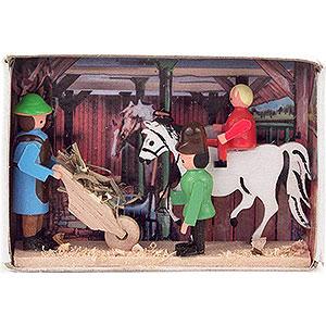 Kleine Figuren & Miniaturen Zündholzschachteln Zündholzschachtel Pferdestall - 4 cm