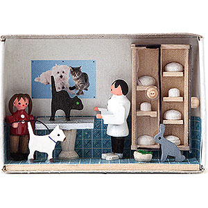 Kleine Figuren & Miniaturen Zündholzschachteln Zündholzschachtel Tierarzt - 4 cm
