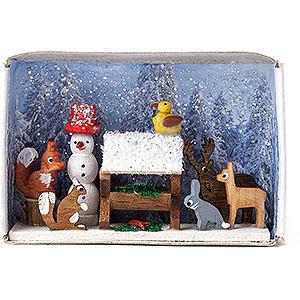 Kleine Figuren & Miniaturen Zündholzschachteln Zündholzschachtel Tierfütterung - 4 cm