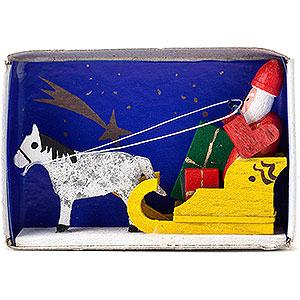 Kleine Figuren & Miniaturen Zündholzschachteln Zündholzschachtel Weihnachtsmann mit Schlitten - 4 cm