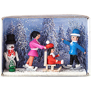 Kleine Figuren & Miniaturen Zündholzschachteln Zündholzschachtel Winterurlaub - 4 cm