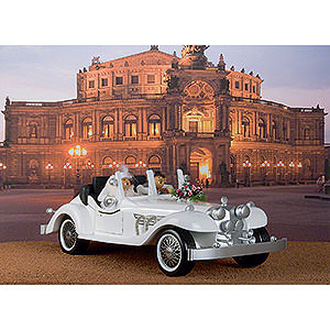 Räuchermänner Räucherfahrzeuge Zwei Räuchermännchen in exklusiver Hochzeitskarosse - 70x32 cm