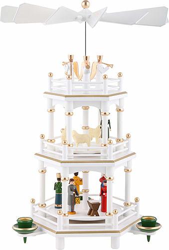 3 st ckige pyramide weihnachten weiss 35 cm von volker. Black Bedroom Furniture Sets. Home Design Ideas