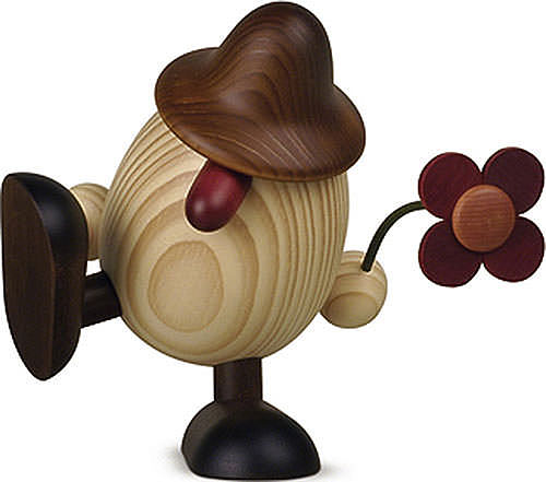 egghead father anton with flower sitting dancing brown 15 cm by bj rn k hler kunsthandwerk. Black Bedroom Furniture Sets. Home Design Ideas