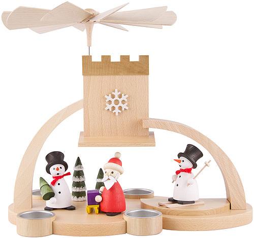 1 st ckige pyramide mit schnee weihnachtsmann natur 29 cm von frank weber holzkunst. Black Bedroom Furniture Sets. Home Design Ideas