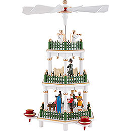 3-Tier Pyramid - Nativity Scene White - 35 cm / 14 inch
