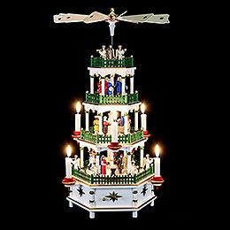 4-stöckige Pyramide Christi Geburt weiss mit Musikspielwerk - 52 cm