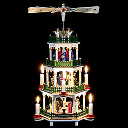 4-Tier Pyramid - Nativity Scene White - 47 cm / 18 inch