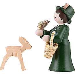 Thiel Figurine - Forester Lady with Deer - coloured - 5,5 cm / 2.2 inch