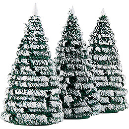 Frosted Trees - Green-White - 3 pieces - 10 cm / 3.9 inch