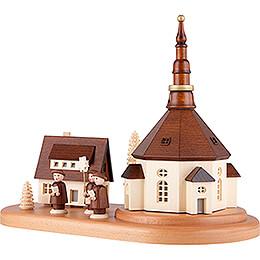 Seiffener Dorf und Kurrende auf Sockel - 22 cm