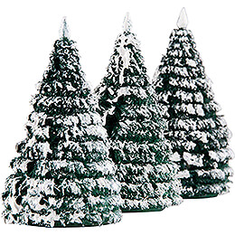 Frosted Trees - Green-White - 3 pieces - 6 cm / 2.4 inch