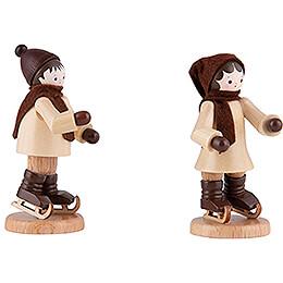 Thiel Figurine - Ice Skate Children Couple - natural - 7 cm / 2.8 inch